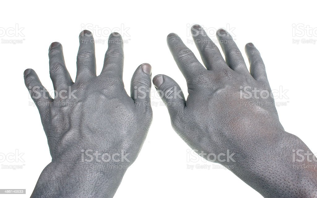 Two hands painted in silver stock photo
