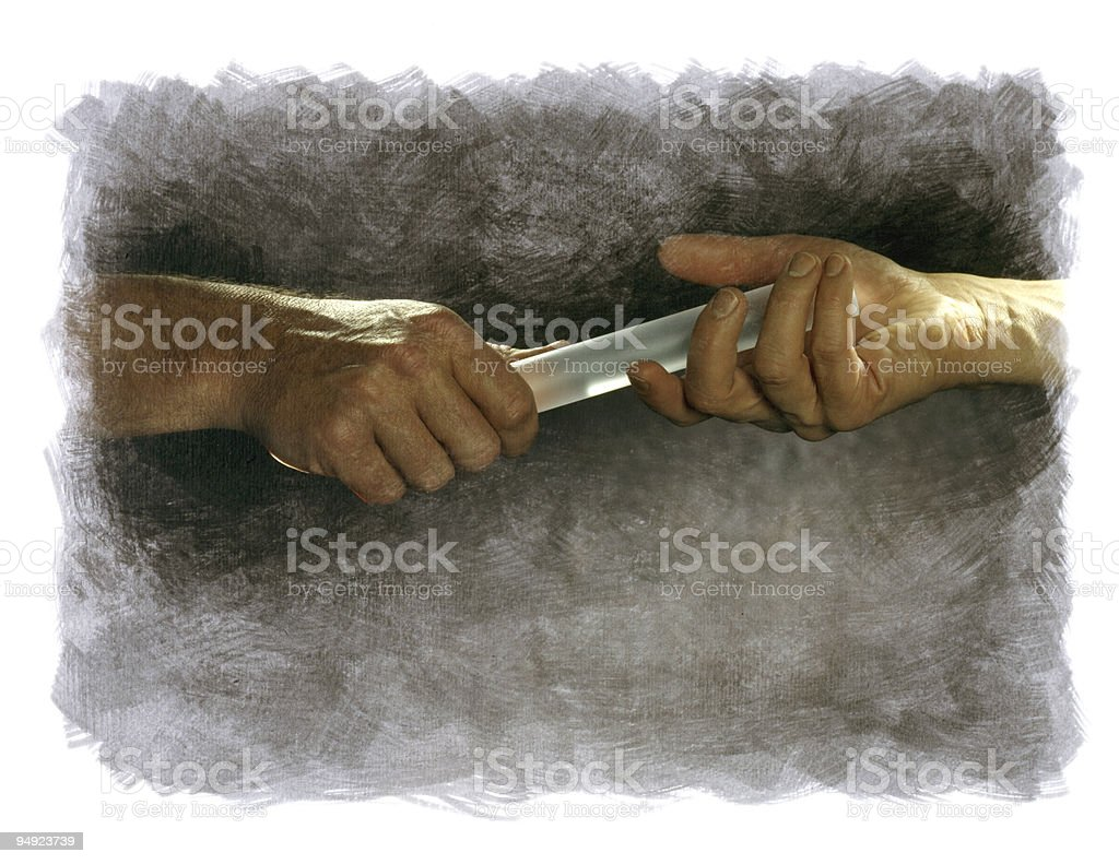 Two Hands Passing a Baton on Painted Background 4x5 Film stock photo