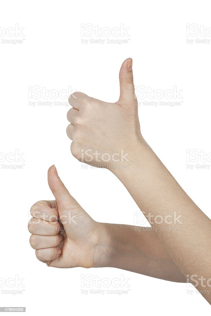 Two hands thumbs up stock photo
