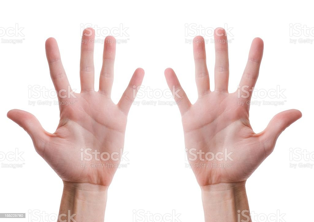 Two hands with open palms stock photo