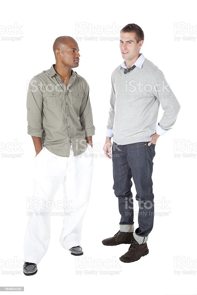 Two Handsome Guys on White royalty-free stock photo