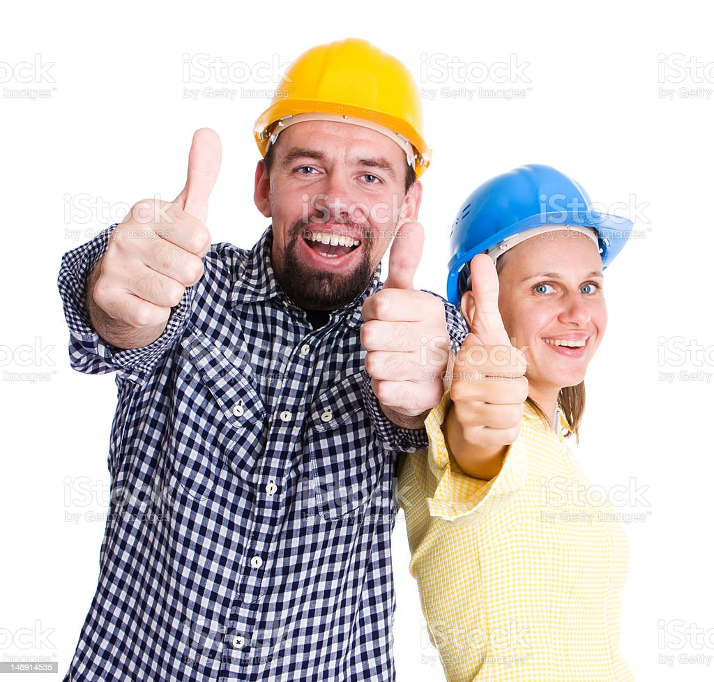 Two happy architects or builders royalty-free stock photo