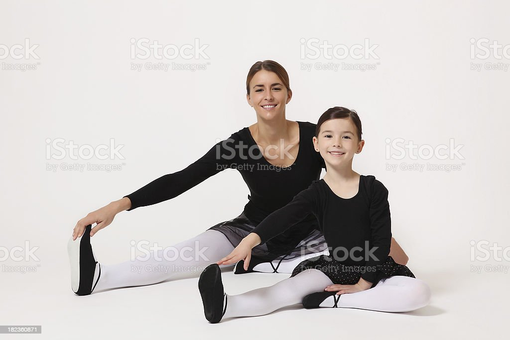 Two happy ballet dancer practicing royalty-free stock photo
