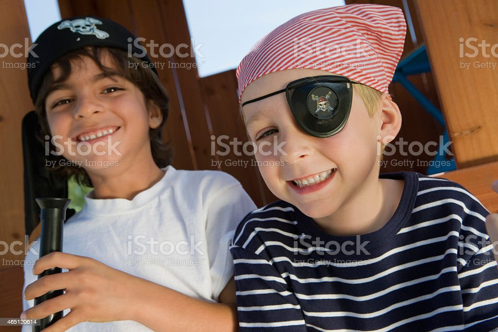 Two Happy Boys Dressed As A Pirate stock photo