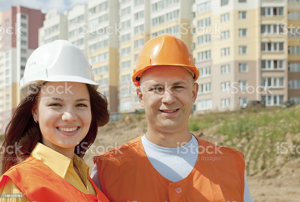 two happy builders royalty-free stock photo