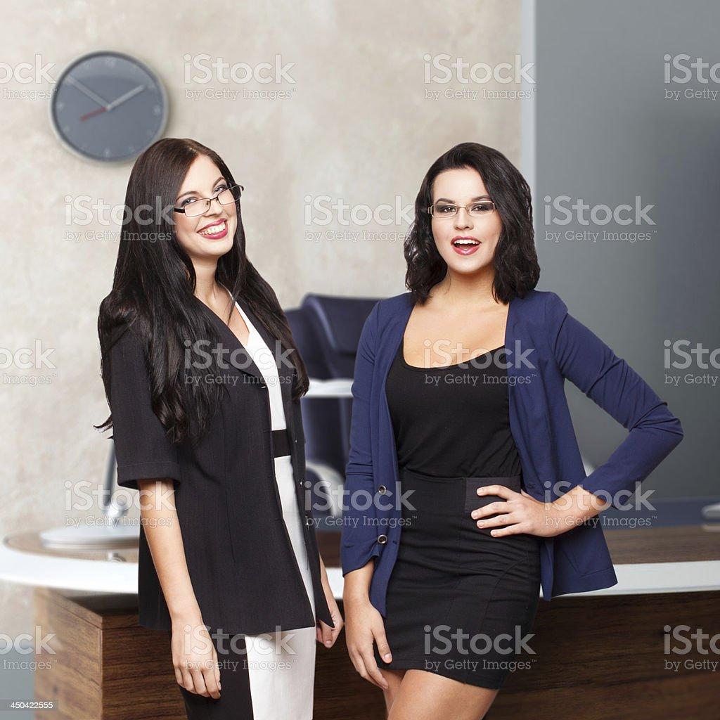 Two happy businesswoman royalty-free stock photo