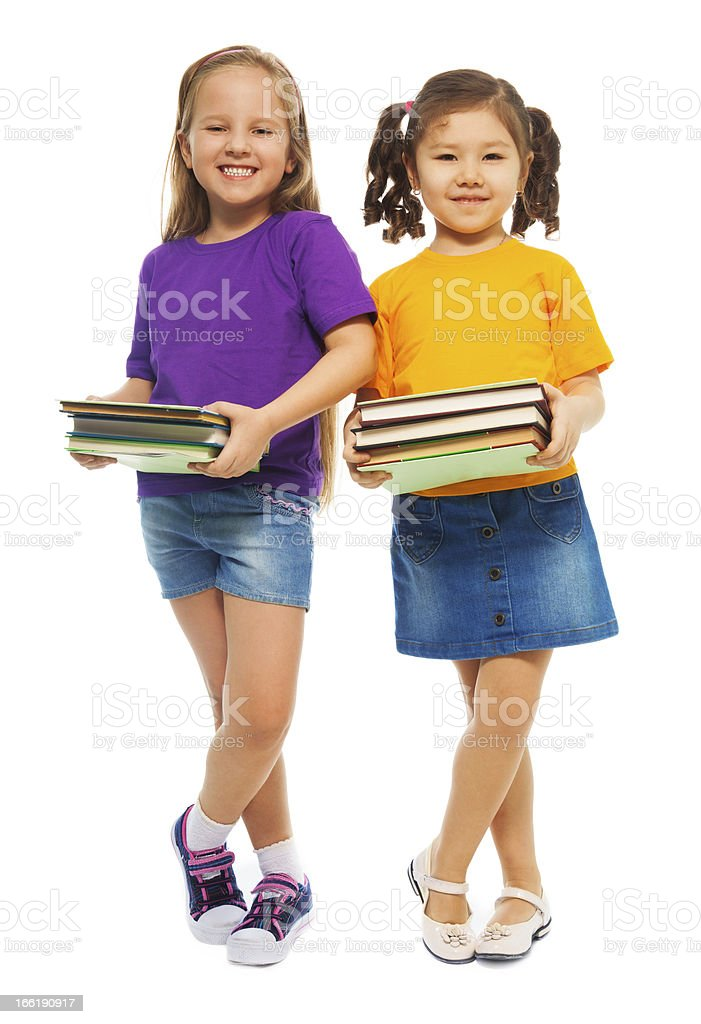 Two happy clever girls royalty-free stock photo
