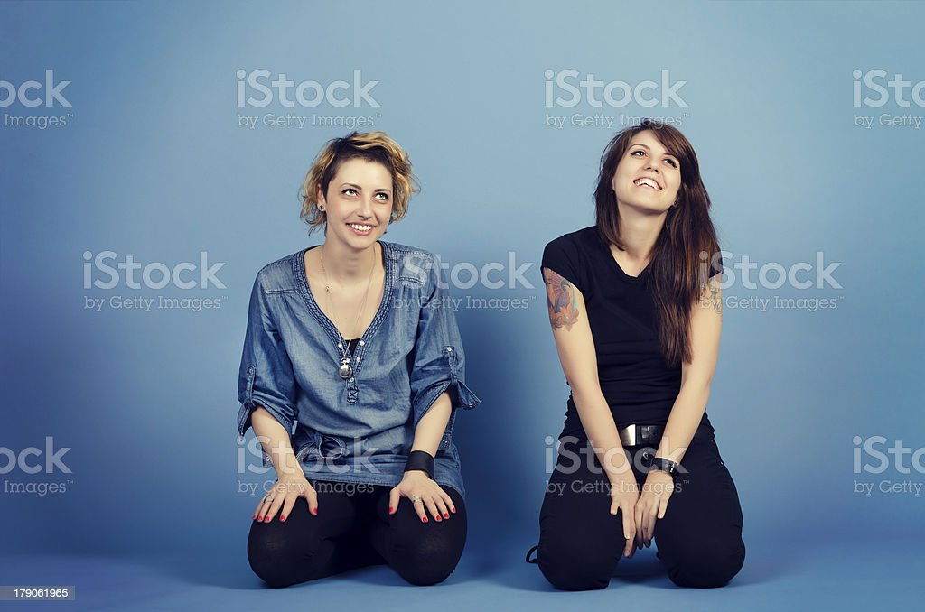 Two happy friends royalty-free stock photo