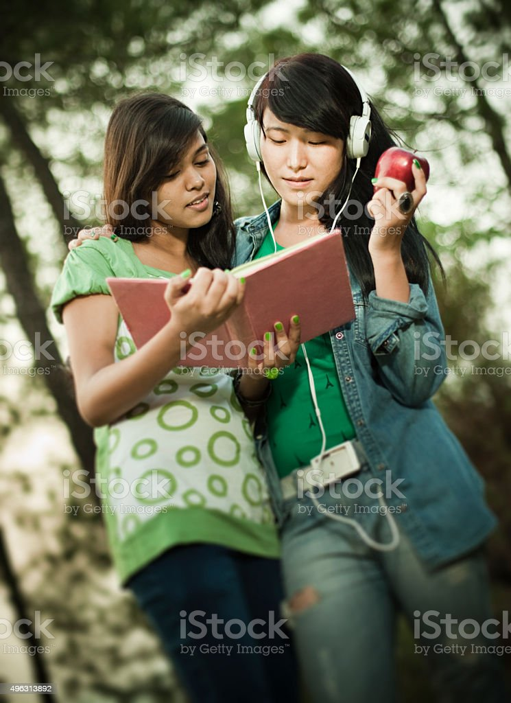 Two happy girls from different ethnicity studying together in nature. stock photo