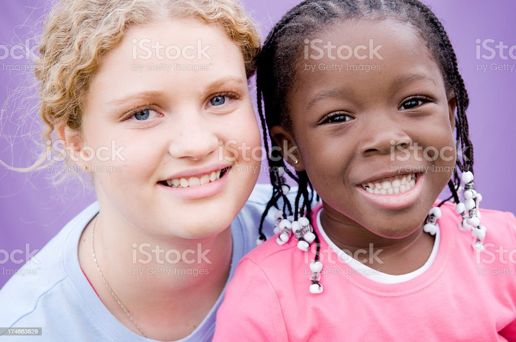 Two Happy Girls Smiling Together royalty-free stock photo