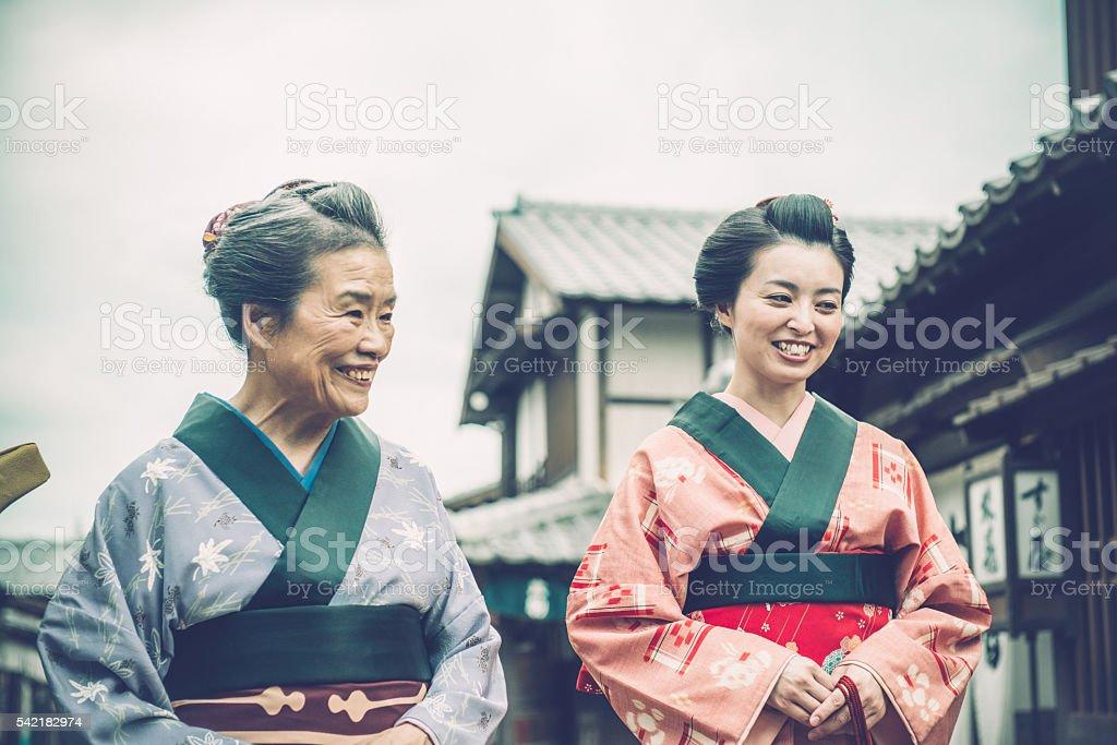 Two Happy Japanese Women in Kimono, Edo Period, Kyoto stock photo