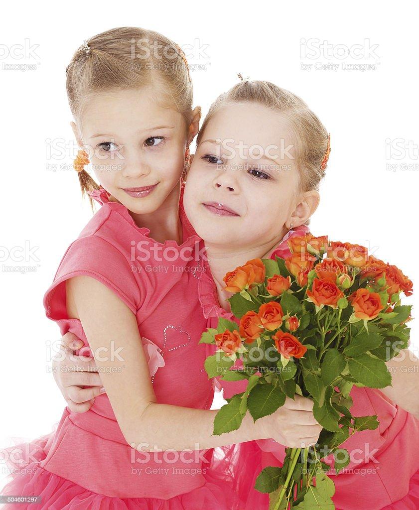 Heureuse deux petites filles photo libre de droits