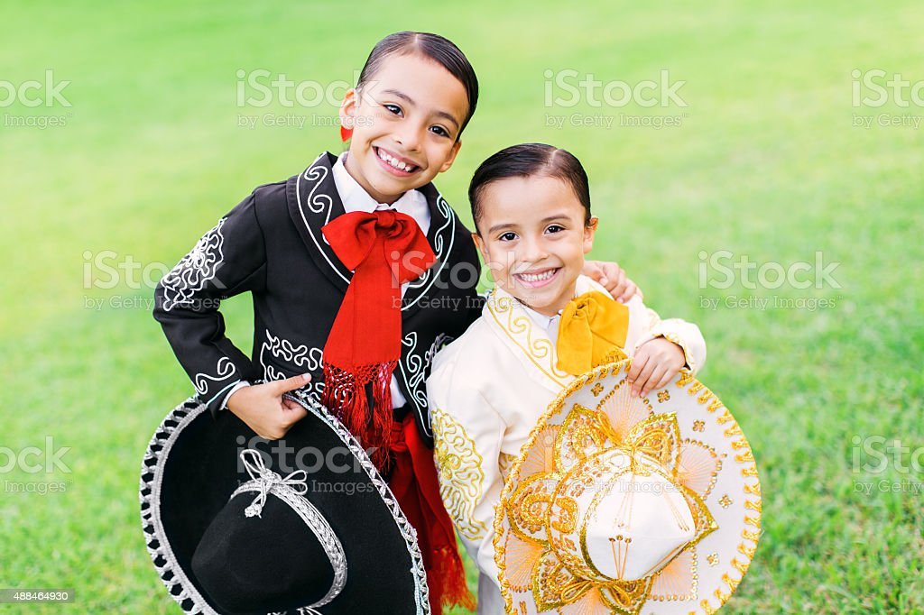 two happy mariachis stock photo
