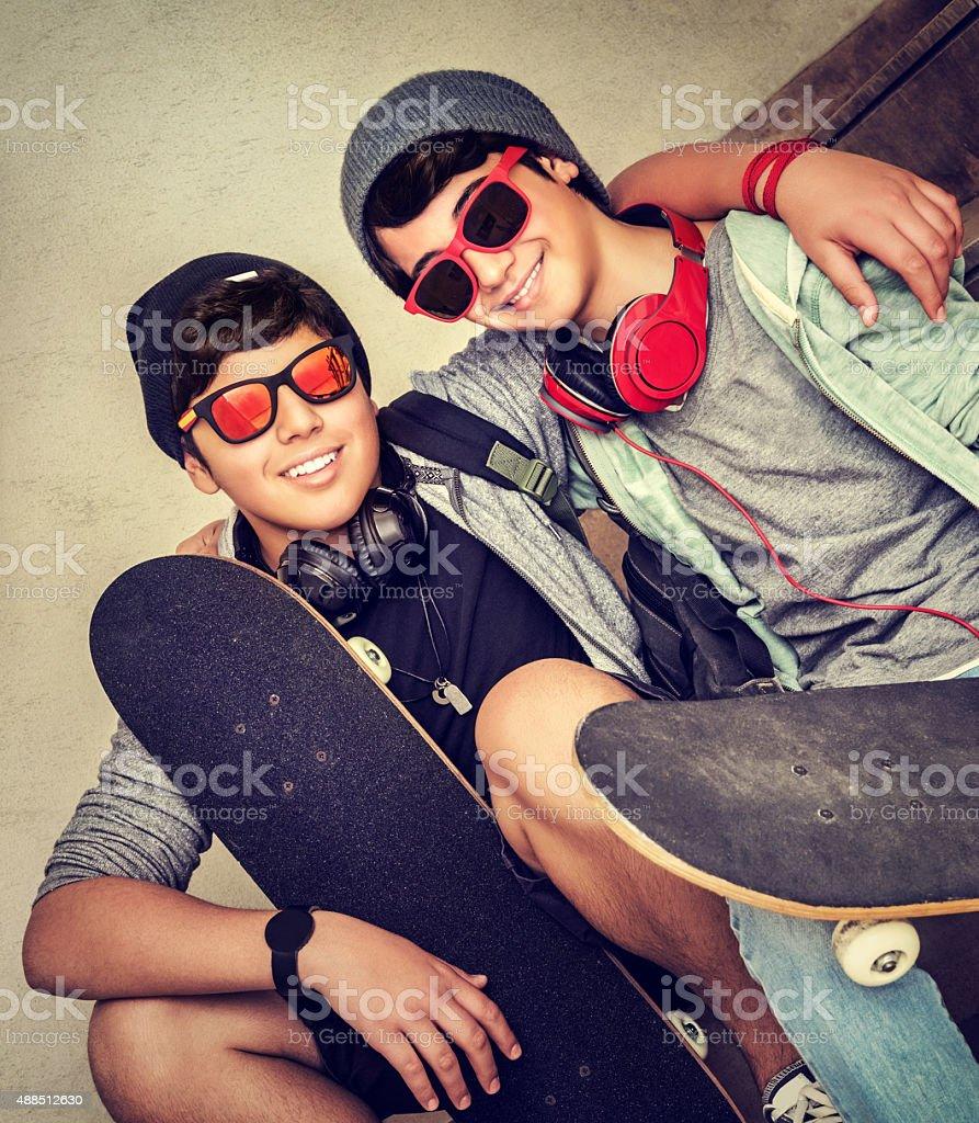 Two happy teen boys stock photo
