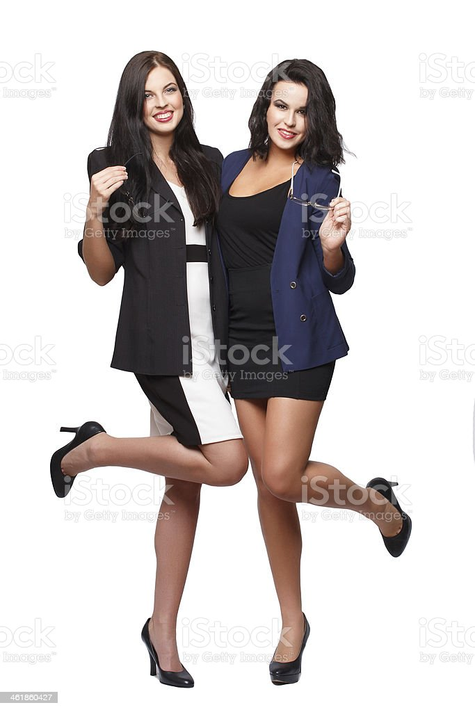 Two happy woman leg up royalty-free stock photo