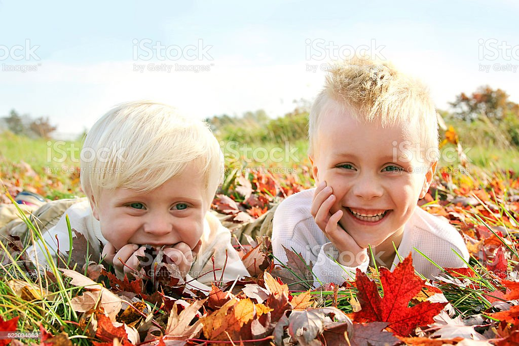 Two Happy Young Children Playing Outside in Fall Leaves stock photo