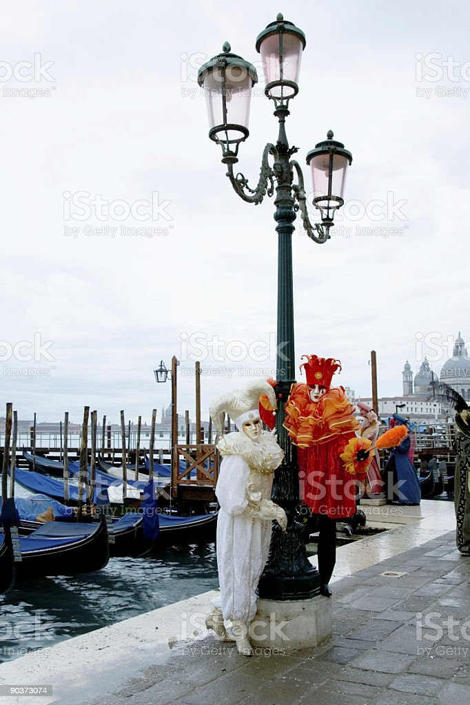 Two harlequin masks at Grand Canal in Venice (XXL) royalty-free stock photo