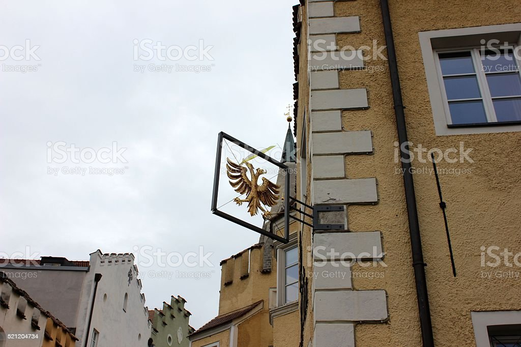 Two headed eagle coat of arms sign on the building stock photo