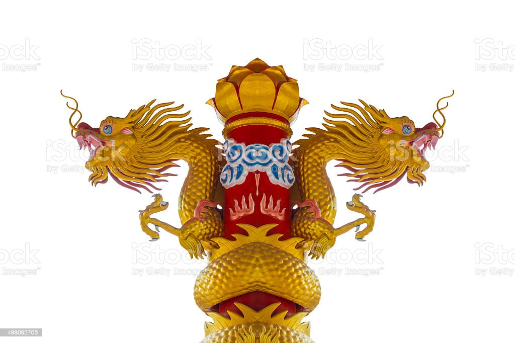 Two Heads of Golden Dragon Statue On White Background royalty-free stock photo