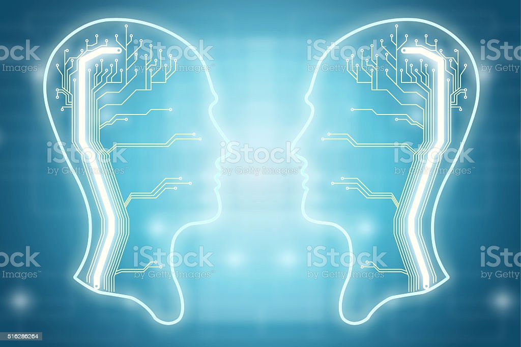 Two heads with electric circuit stock photo