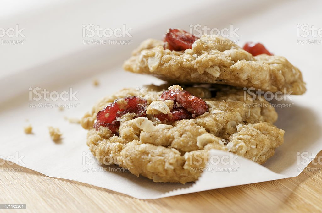 Two Healthy Oatmeal Cranberry Cookies XXL royalty-free stock photo