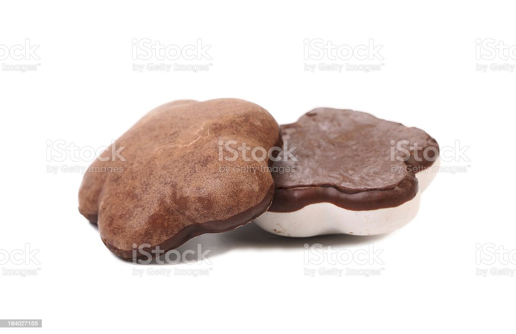 Two heart shape chocolate meringues. stock photo