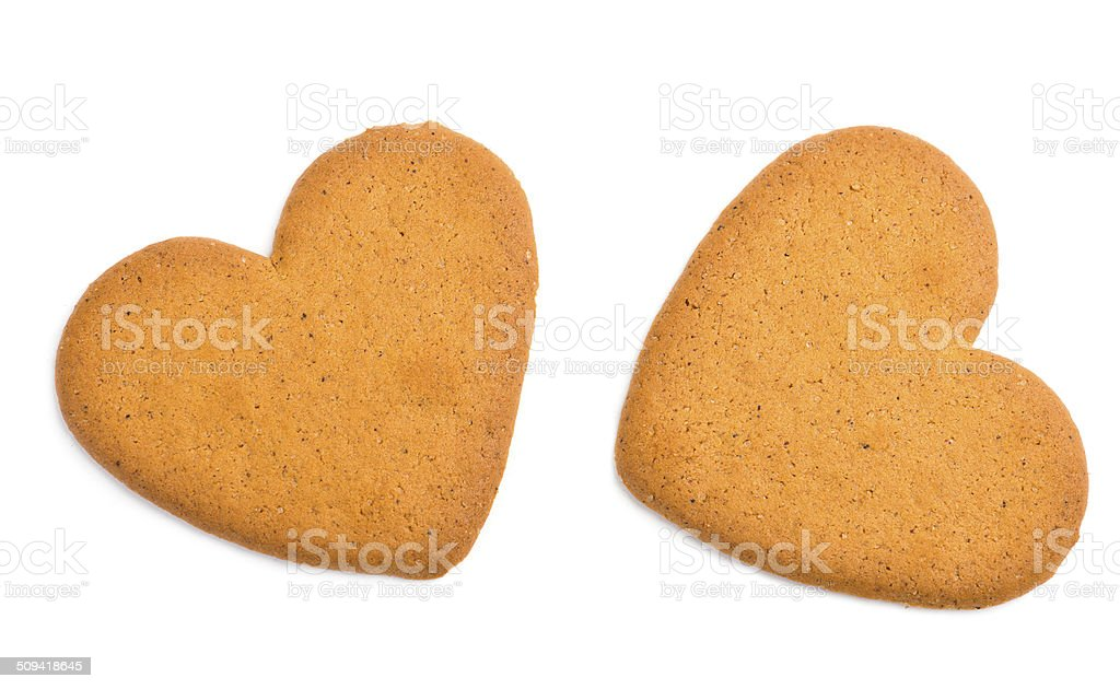 two heart shaped cookies stock photo
