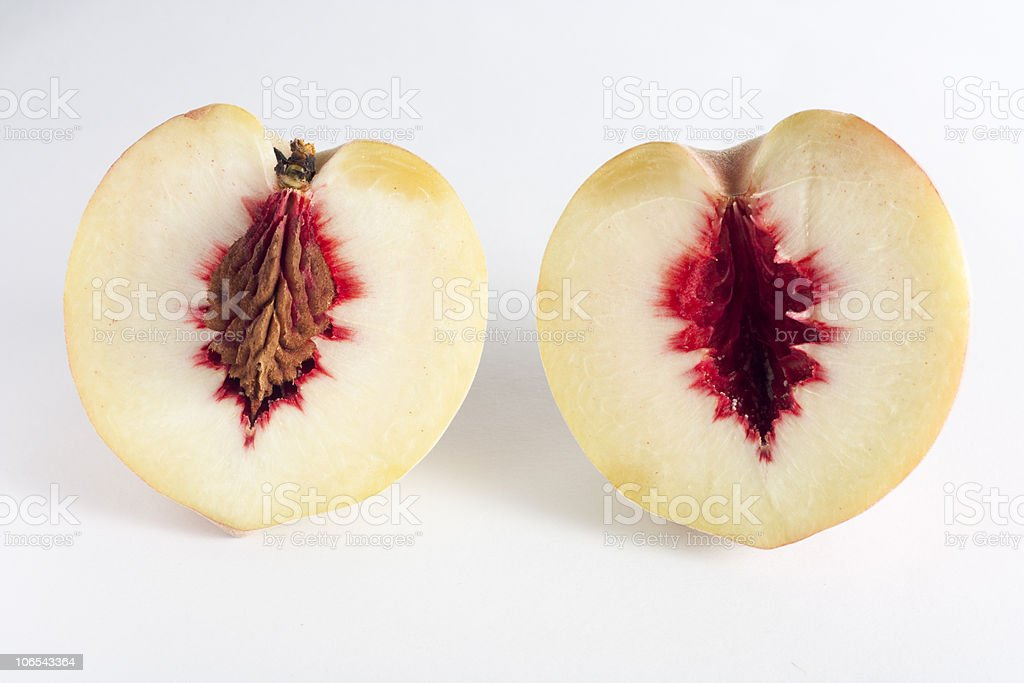 Two Heart Shaped Peaches stock photo