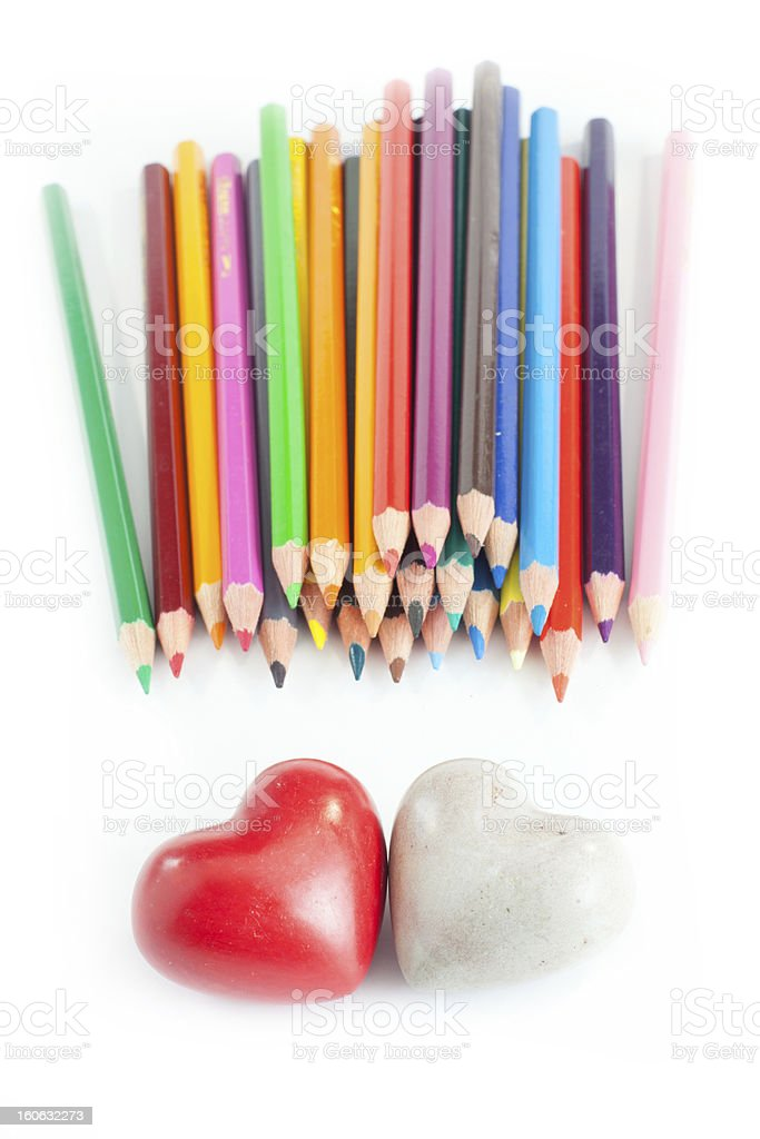 Two heart with crayons stock photo