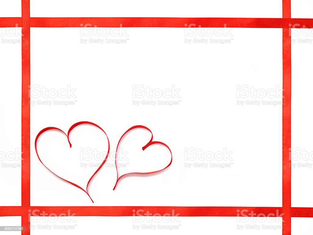 Two hearts flat frame stock photo