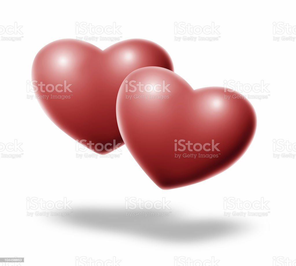 two hearts floating royalty-free stock photo