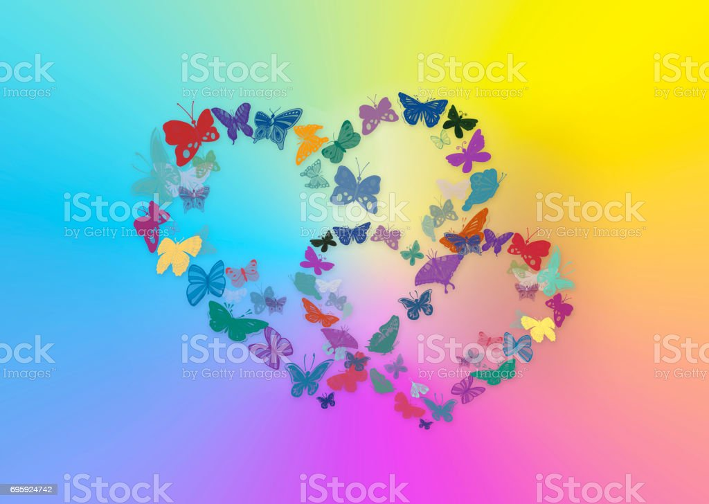 Two hearts from butterflies on a multi-coloured background stock photo