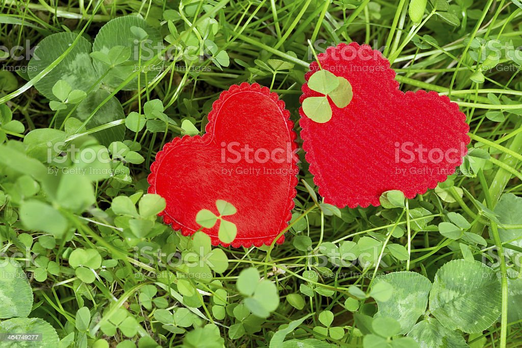 Two hearts in a meadow stock photo