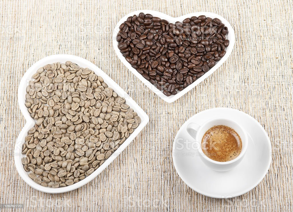 Two Hearts In Love with Espresso royalty-free stock photo