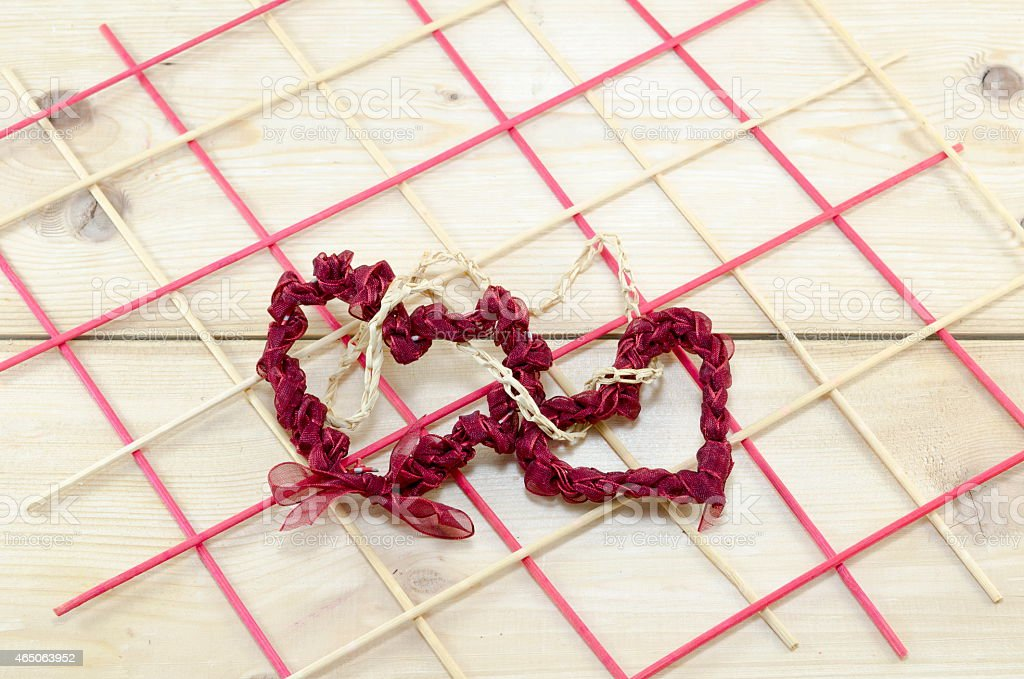 Two hearts made our of red lace royalty-free stock photo