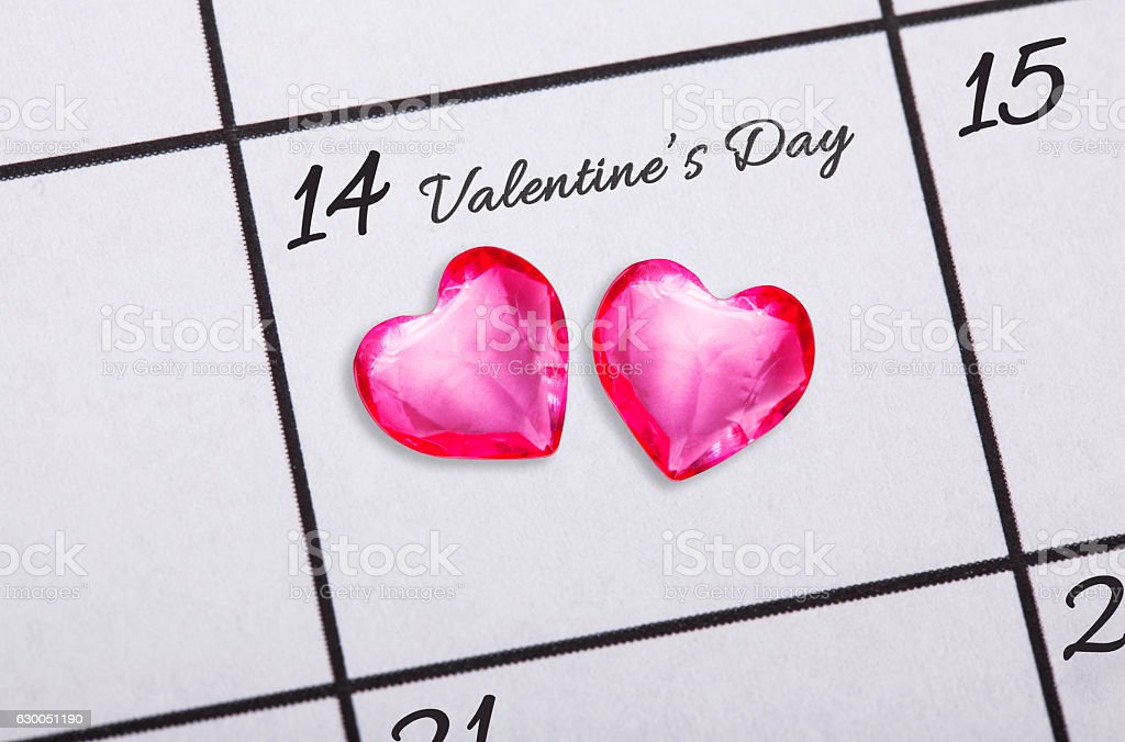 Two Hearts on Calendar - Valentine's Day stock photo