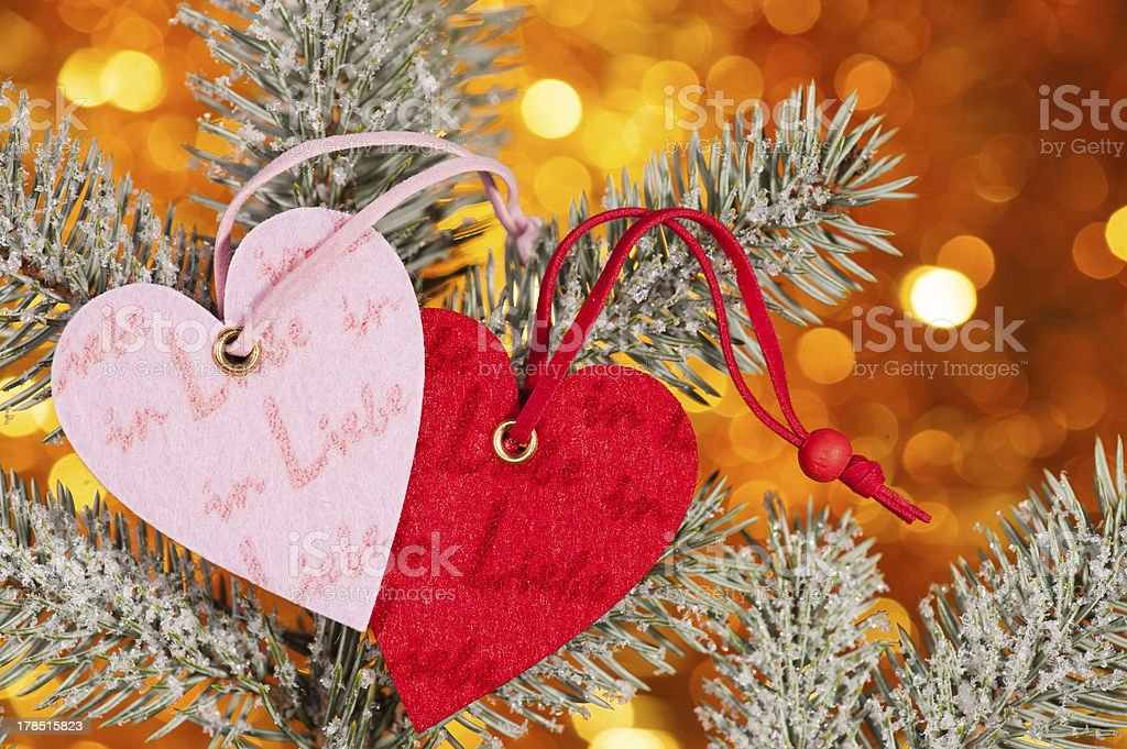 two hearts on christmas fir tree branch royalty-free stock photo