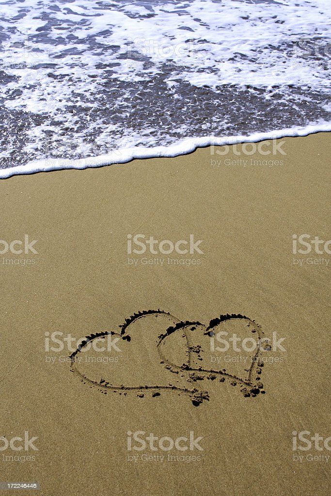 Two Hearts on sand royalty-free stock photo