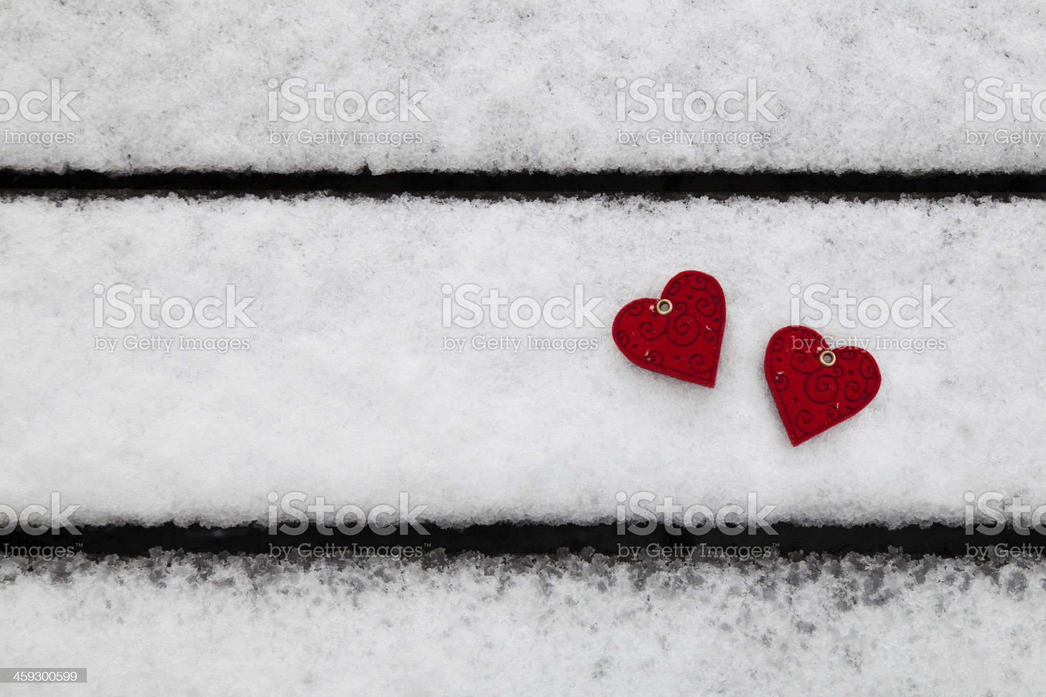 Two Hearts on Snow royalty-free stock photo