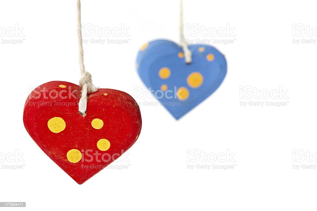 Two hearts on white background royalty-free stock photo