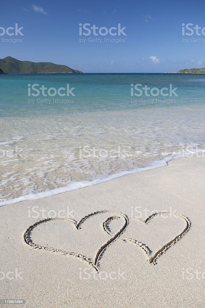 Two Hearts Tropical Waters royalty-free stock photo