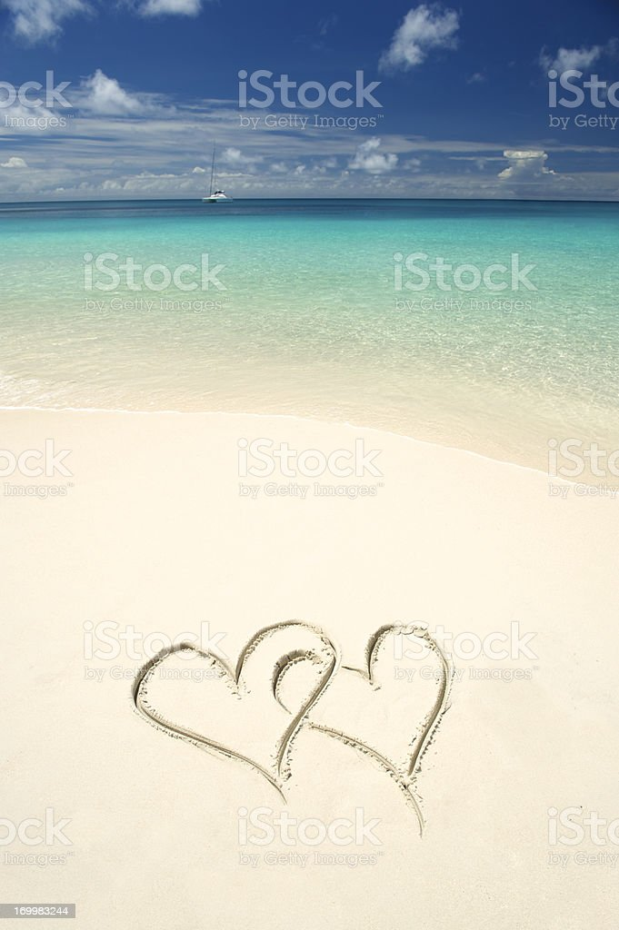 Two Hearts Tropical Waters White Sand Beach royalty-free stock photo