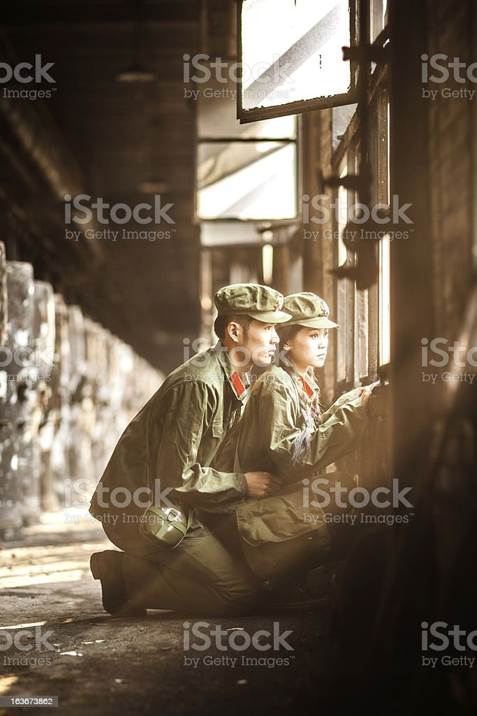 Two helpless rebellion looking out stock photo