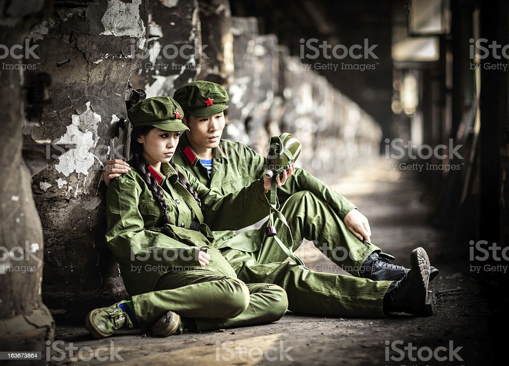 Two helpless rebellion with no water left royalty-free stock photo