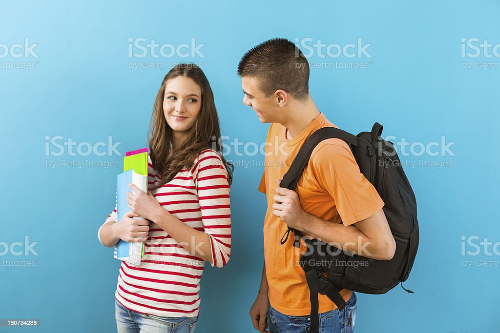 Two high school students royalty-free stock photo