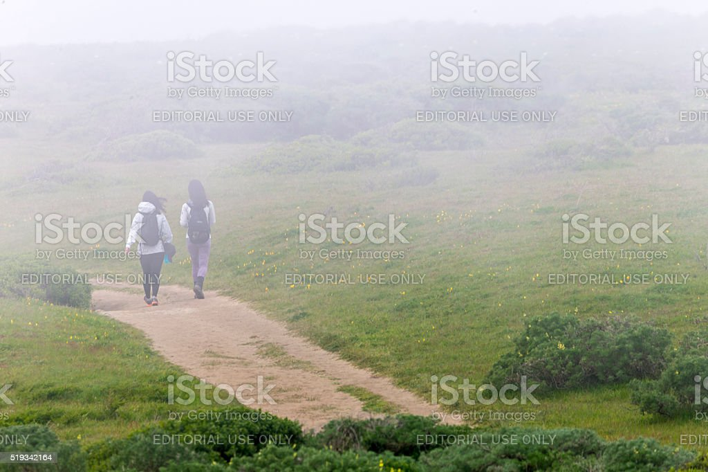 Two Hikers at Tomales Point of Point Reyes National Seashore stock photo