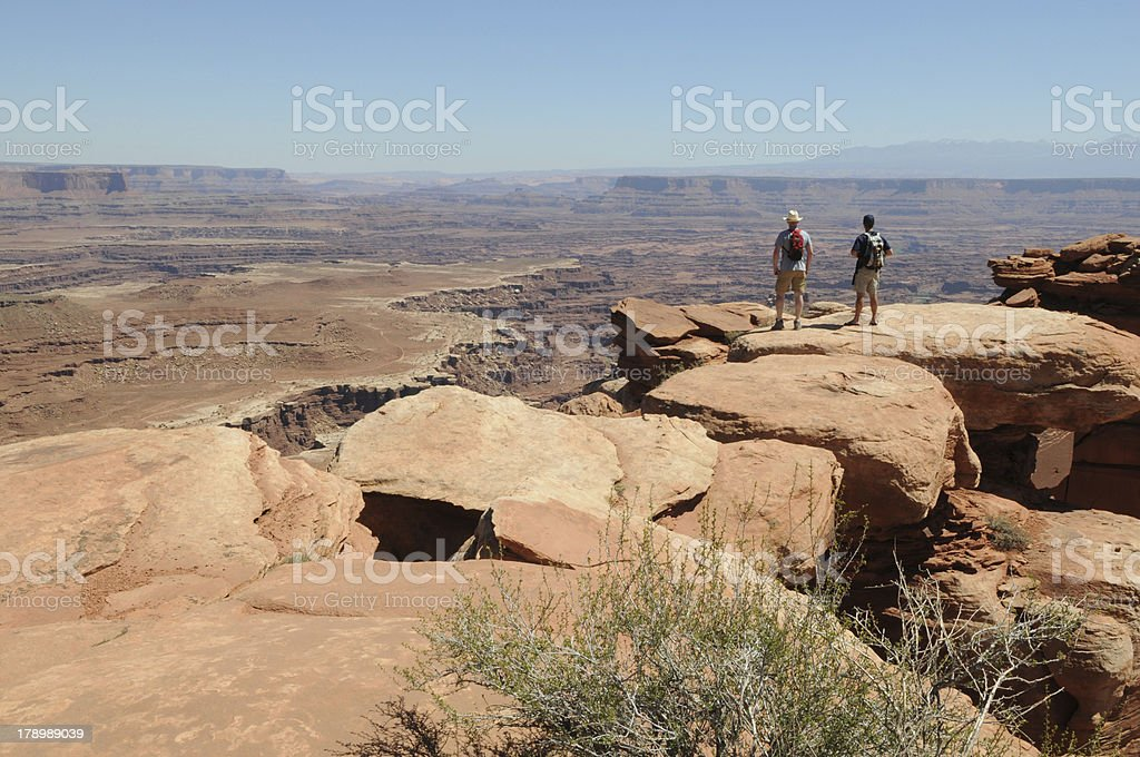 Two Hikers in Moab, Utah royalty-free stock photo