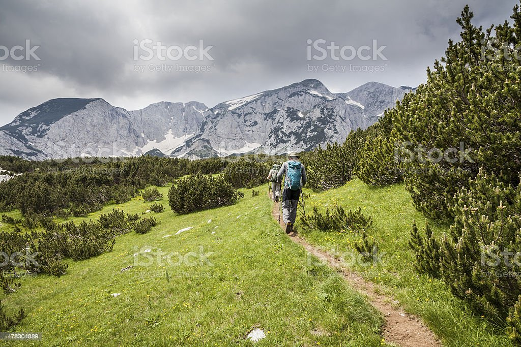 Two hikers in Sutjeska National Park, Bosnia and Herzegovina stock photo