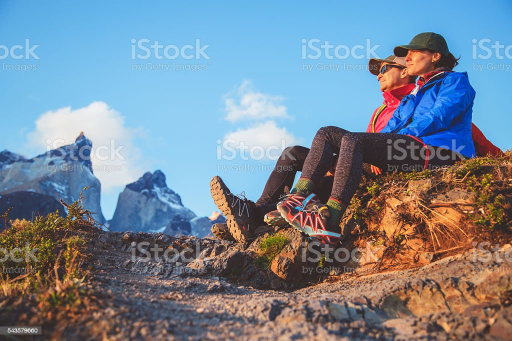 Two hikers in Torres del Paine stock photo