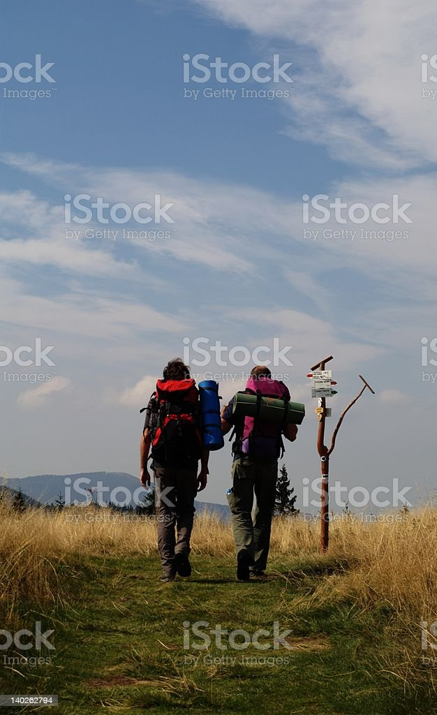 Two hikers royalty-free stock photo